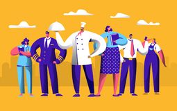 Different Job Worker Set for Labor Day Holiday Banner. People Group Work in Uniform. Chef, Pilot and Doctor Employment. International Service. Engineer stock illustration
