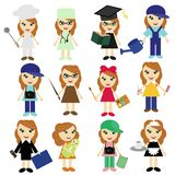 Different Jobs Girls On White Stock Image