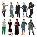 Different jobs and uniforms Royalty Free Stock Images