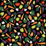 Different jucy vegetables seamless pattern. Different vegetables seamless pattern. black background Royalty Free Stock Images