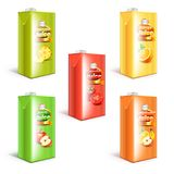 Juice box packaging 3d realistic vector set. Different juice box packaging 3d realistic vector set Royalty Free Stock Image