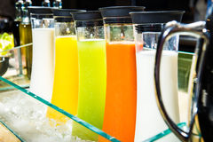Different juices in raw. Royalty Free Stock Photo