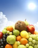 Different juicy fruits on a sky background Stock Photos