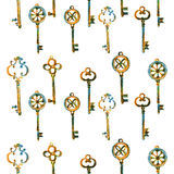 Different key hand drawn illustration painted coloring pencil isolated on white, seamless vector pattern, decorative. Different keys hand drawn illustration Royalty Free Stock Images