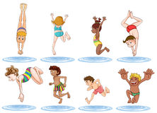 Different Kids Enjoying The Water Royalty Free Stock Photo