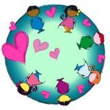 Heart Earth, Circle Mandala, Cartoon for Baby Children Diversity Stock Images