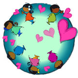 Heart Earth, Circle Mandala, Cartoon for Baby Children - African Diversity Royalty Free Stock Photography