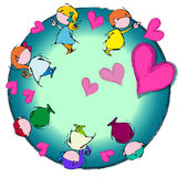Heart Earth,Circle Mandala, Cartoon for Baby Children  Stock Images