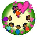 Heart Circle Mandala, Cartoon for African-Indian Baby Children Diversity Stock Photos