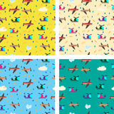 Different kids seamless vector pattern with airplanes and helico Royalty Free Stock Photos