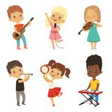 Different kids singing. Musicians isolate on white royalty free illustration