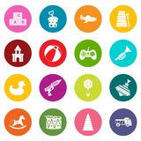 Different kids toys icons many colors set. Isolated on white for digital marketing Stock Images