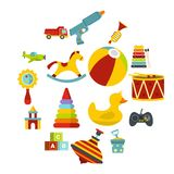 Different kids toys icons set in flat style. Isolated vector illustration stock illustration