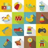 Different kids toys icons set, flat style Royalty Free Stock Photos