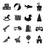 Different kids toys icons set, simple style Royalty Free Stock Photos