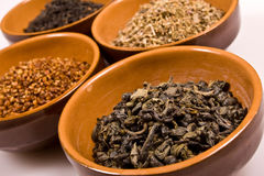 Different kind of asian tea in orange cup Stock Photos