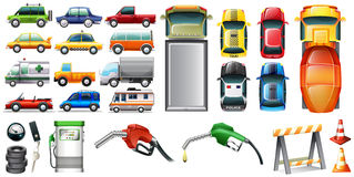 Different kind of automotives and petrol Royalty Free Stock Photo