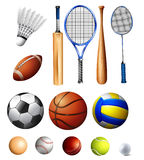 Different kind of balls and bats. Illustration Royalty Free Stock Photos