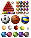 Different kind of balls of many sports Stock Image
