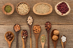Different kind of beans and lentils in wooden spoon on wood back Royalty Free Stock Image