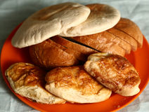 Different kind bread  tortilla, sliced loaf  pies Royalty Free Stock Photos