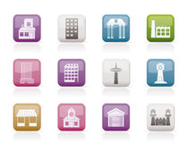 Different kind of building and City icons Stock Photos