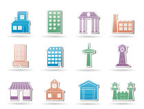 Different kind of building and City icons stock illustration