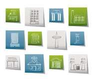 Different kind of building and City icons Stock Images