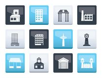 Different kind of building and City icons over color background. Vector icon set vector illustration