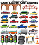 Different kind of cars and objects on road. Illustration Stock Images