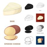 Different kind of cheese cartoon,black,flat,monochrome,outline icons in set collection for design.Milk product cheese. Vector symbol stock  illustration Stock Photos