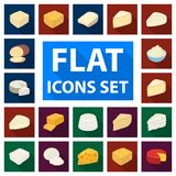 Different kind of cheese flat icons in set collection for design.Milk product cheese vector symbol stock web. Different kind of cheese flat icons in set Royalty Free Stock Photo