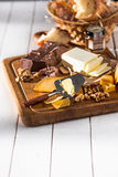 The different kind of cheese and walnuts on wooden background Royalty Free Stock Photo