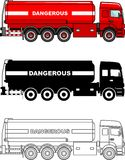 Different kind cistern trucks carrying chemical, radioactive, toxic, hazardous substances isolated on white background. Detailed illustration of cistern trucks Stock Photo