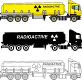 Different kind cistern trucks carrying chemical, radioactive, toxic, hazardous substances isolated on white background in flat sty. Detailed illustration of Royalty Free Stock Photos