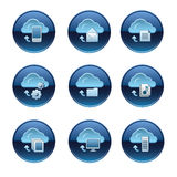 Cloud service buttons set. Different kind of cloud service buttons set Stock Photos