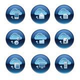 Cloud service buttons set Stock Photos