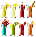Different kind of cocktail in glasses Stock Photography