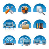 Computer network icon set. Different kind of computer network icons Stock Photos