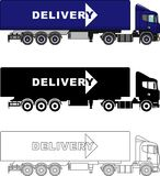 Different kind delivery trucks isolated on white background in flat style: colored, black silhouette and contour. Vector. Detailed illustration of delivery Stock Photography