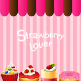 Different kind of dessert strawberry flavor Stock Image