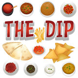Different kind of dips and chips Royalty Free Stock Photos
