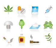 Different kind of drug icons Royalty Free Stock Photos