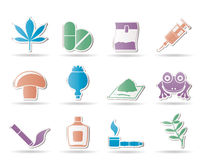 Different kind of drug icons Royalty Free Stock Photo
