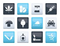 Different kind of drug icons over color background. Vector icon set vector illustration