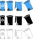 Different kind dumpsters  on white background in flat style: colored, black silhouette and contour. Vector Stock Photos