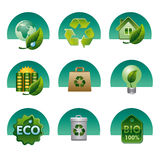 Eco and bio icon set Stock Photography