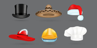 Different kind of fashion hat modern elegance cap and textile accessories clothes vector illustration Royalty Free Stock Photos