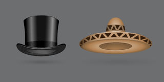 Different kind of fashion hat modern elegance cap and textile accessories clothes vector illustration Royalty Free Stock Images