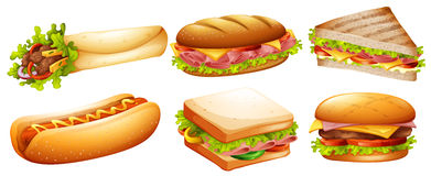 Different kind of fastfood Stock Image